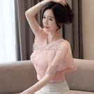 雪紡衫短袖女裝夏季2021新款洋氣很仙的上衣超仙甜美網紗洋氣小衫 快速出貨