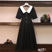 露背洋裝 大尺碼女裝胖mm夏季新品黑色娃娃領遮肚氣質收腰顯瘦長款連身裙【快速出貨】