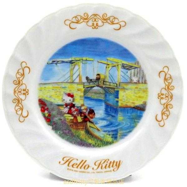 asdfkitty*KITTY收藏級古典陶瓷繪盤-河邊風情-2001年絕版商品-外盒泛黃-日本正版
