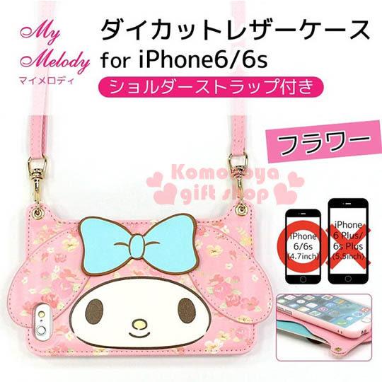 〔小禮堂〕美樂蒂 iPhone6 軟式裝飾殼《粉.大臉.附背帶》後可放一張卡片4982416-72526