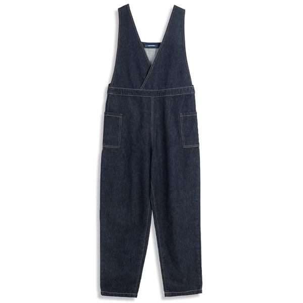 Queen Shop【04050709】V領交叉牛仔雙口袋吊帶褲 S/M*現+預*