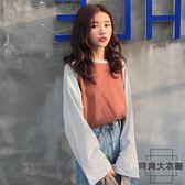 拼色條紋衣服女寬松韓風chic上衣長袖t恤女【時尚大衣櫥】
