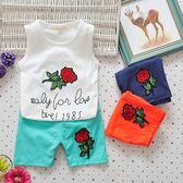 嬰兒短袖套裝 背心+短褲 寶寶童裝 UG22427 好娃娃
