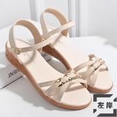 涼鞋女簡約平底純色學生防滑女鞋夏季軟底【左岸男裝】