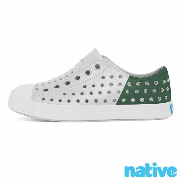 native JEFFERSON BLOCK CHILD 奶油頭鞋 透氣腳套式休閒鞋 小童鞋-霧灰x森林綠 8445