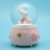 現貨  兔子 水晶球 木馬愛心飄雪帶燈 音樂盒 女生生日兒童學生禮物 八音盒