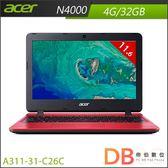acer A311-31-C26C 11.6吋 N4000 HD 紅色筆電 (6期0利率)-送acer無線滑鼠+保溫杯