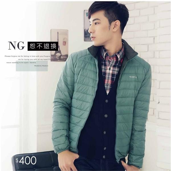 【大盤大】(D388) 男女 輕量羽絨外套 M NG無法退換 灰綠羽絨衣 輕潑水防風拉鍊外套 保暖工作服