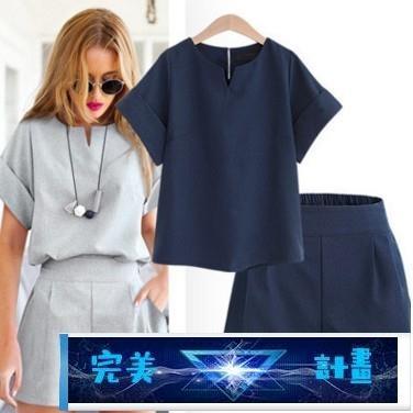 短袖套裝 夏裝時尚熱賣新款歐美風大碼女裝胖MM短袖上衣短褲兩件套套裝 完美計畫 免運