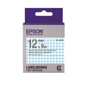 【高士資訊】EPSON 12mm LK-4CAY 花紋系列 藍白格紋底灰字 原廠 盒裝 防水 標籤帶