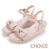 CHOiCE 甜美舒適 交叉蝴蝶結真皮楔型涼鞋-米色