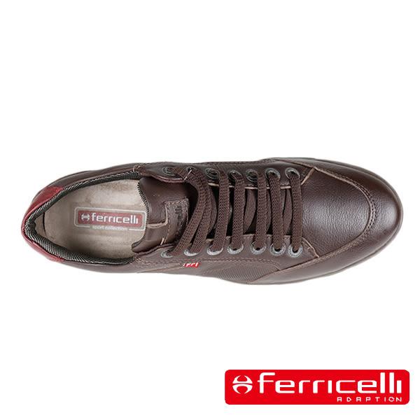 【ferricelli】經典牛皮綁帶緩衝彈性墊休閒運動鞋 深咖啡(F42526-COF)