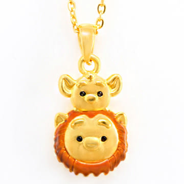 迪士尼系列金飾-TSUM TSUM造型黃金墜子-獅子王&辛巴款(加贈金色鋼鍊)