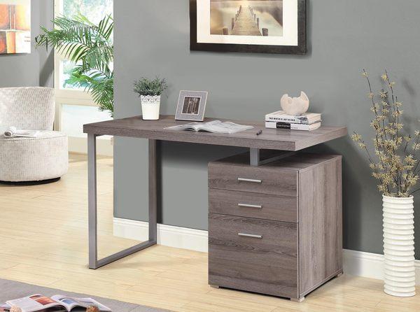 【森可家居】康迪仕摩登電腦書桌(褐灰色) 7JX262-2 辦公桌