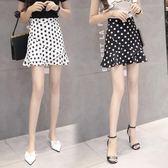波點半身裙女夏chic魚尾裙新款韓版高腰荷葉邊包臀雪紡短裙褲 黛尼時尚精品