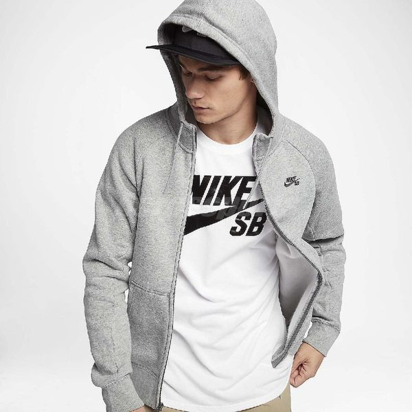 Nike 連帽外套 SB Icon Full-Zip Hoodie Jacket Skateboarding 灰 黑 男款 【PUMP306】 800150-063