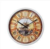 【大航海-白框】地中海藝術復古客廳創意靜音臥室時鐘大掛鐘錶14英寸