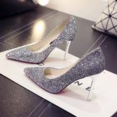 新款漸變銀色高跟鞋女細跟尖頭婚鞋新娘鞋婚紗亮片高跟『潮流世家』