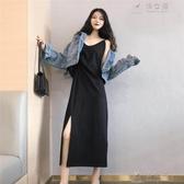 黑色吊帶長裙女內搭心機設計感很仙的法國小眾洋裝子v領夏過膝 俏女孩