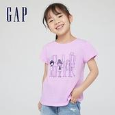 Gap女幼童 布萊納系列 Logo童趣純棉T恤 708517-紫色