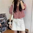 短袖襯衫女設計感小眾夏季法式甜美減齡短款上衣方領小個子娃娃衫 喵小姐