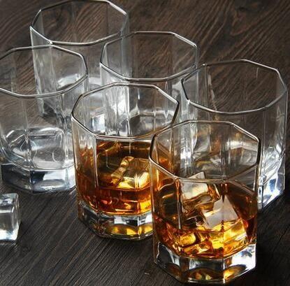 6只裝方形洋酒杯玻璃杯啤酒杯烈酒杯水杯 威士忌酒杯