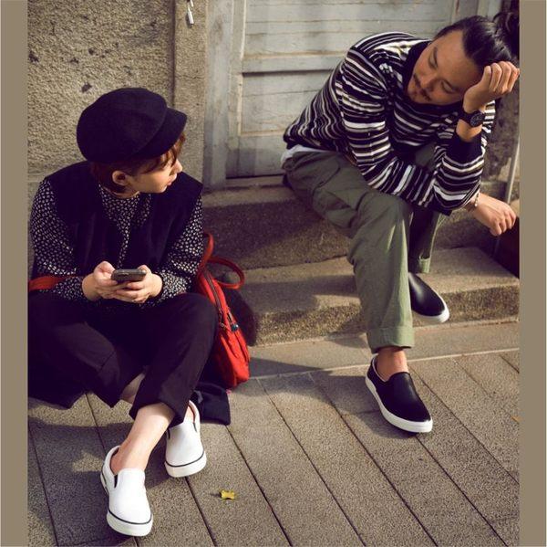 真皮休閒鞋,懶人鞋,情侶鞋,台灣製造,男(黑色)