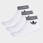 L-adidas ORIGINALS ADICOLOR 腳踝襪 白色 三雙一組 三葉草 休閒 透氣 男女 運動 EE1152