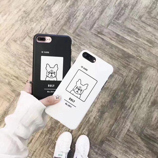 iPhone手機殼 可掛繩 可愛黑白狗狗 矽膠軟殼 蘋果iPhone7/iPhone6 手機殼