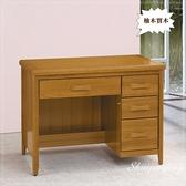 【水晶晶家具/傢俱首選】HT0366-5愛莉絲3.5尺柚木色四抽辦公書桌