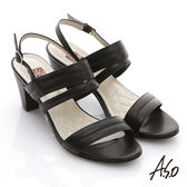 A.S.O 軟芯系列 蠟感真皮簡約低粗跟涼鞋 黑色