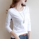 T恤 女款長袖T恤(兩件)秋季女新款長袖t恤女圓領白色打底衫韓版體恤上衣