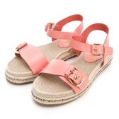 PLAYBOY 草編系列 真皮水鑽涼鞋-粉