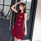 VK精品服飾 韓系氣質修身顯瘦學院風娃娃領無袖洋裝