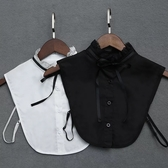 假領子領片英倫學院風立領氣質綁帶洋裝大學T針織衫外套內搭黑白色[E1276] 預購.朵曼堤洋行