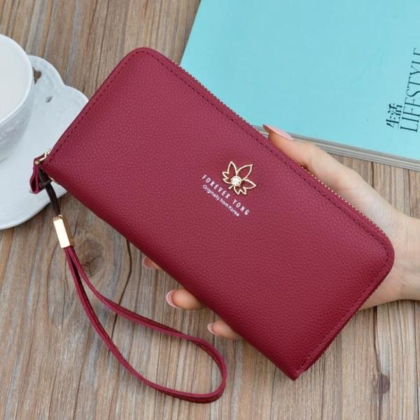 手拿包 女式錢包軟皮2021新款時尚多功能錢夾荔枝紋錢包女可放手機手拿包 ww