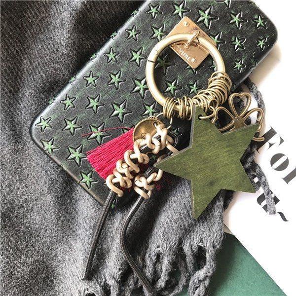 iPhone手機殼 民俗風墨綠星星流蘇 皮質軟殼半包 蘋果iPhone7/iPhone6 手機殼