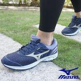 【MIZUNO 促銷8折】MIZUNO(男) WAVE RIDER 21 G-TX 慢跑鞋 / 靛藍X銀灰