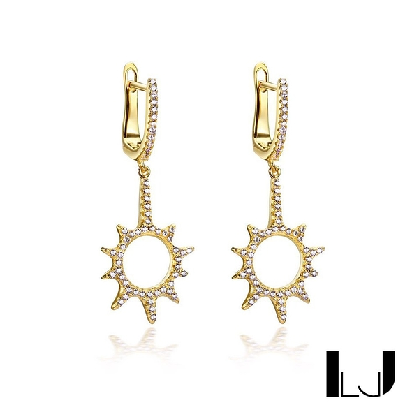 Little Joys 小太陽鋯石耳環 925銀鍍金 旅美原創設計品牌
