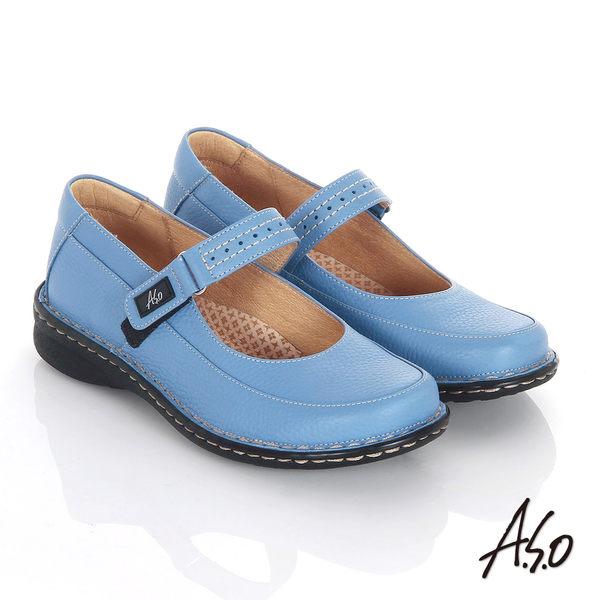 A.S.O 抗震雙核心 全真皮手縫寬楦奈米魔鬼粘氣墊鞋 藍
