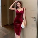 細肩帶辣妹洋裝 名媛氣質修身性感夜場年會禮服絲絨打底修身中長款連身裙
