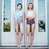 泳衣-韓國保守防曬長袖高腰溫泉游泳衣女分體小胸聚攏三角顯瘦遮肚泳裝 依夏嚴選