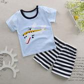 兒童短袖套裝T恤短褲薄款純棉男女童裝寶寶短袖兩件套嬰兒夏季t恤 芥末原創