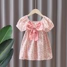 女童洋裝 女童連身裙夏純棉碎花泡泡袖小童公主裙夏季女寶寶夏裝短袖裙子