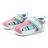 《7+1童鞋》小童 日本 MOONSTAR 月星 透氣 魔鬼氈 機能涼鞋 D455 粉色