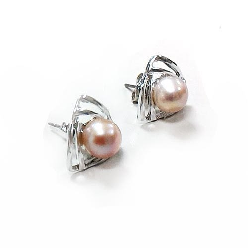 時尙雙三角形天然珍珠耳環