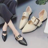 單鞋女百搭一字扣平底鞋子粗跟淺口尖頭女鞋