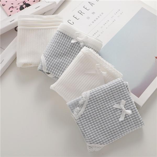 4件2純棉 2莫代爾內褲女低腰可愛透氣棉質簡約純色學生少女三角褲