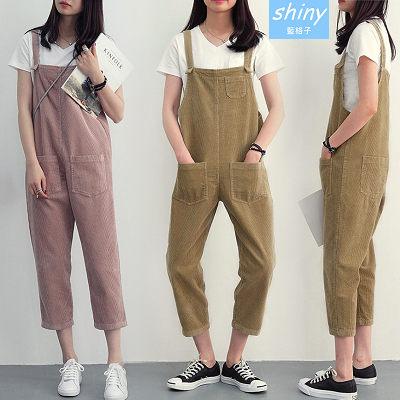 【V1478】shiny藍格子-原宿學院.小口袋造型寬鬆八分直筒吊帶褲