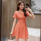 出清288 韓國風名媛圓領超仙百褶裙輕熟風時尚短袖洋裝